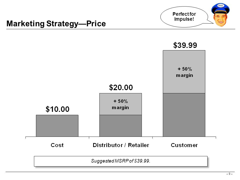 – 9 – Marketing Strategy—Price Suggested MSRP of $39.99. Perfect for Impulse!