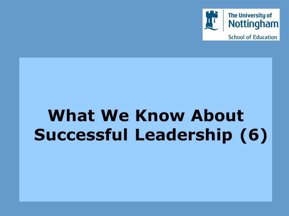 What We Know About Successful Leadership (6)