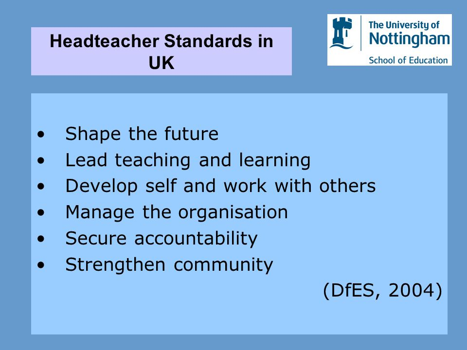 Shape the future Lead teaching and learning Develop self and work with others Manage the organisation Secure accountability Strengthen community (DfES