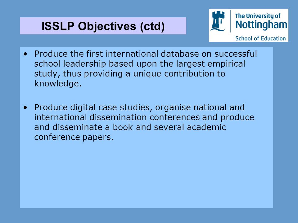 Produce the first international database on successful school leadership based upon the largest empirical study, thus providing a unique contribution to knowledge.