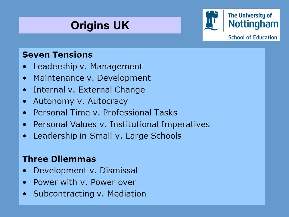 Seven Tensions Leadership v. Management Maintenance v. Development Internal v. External Change Autonomy v. Autocracy Personal Time v. Professional Tas