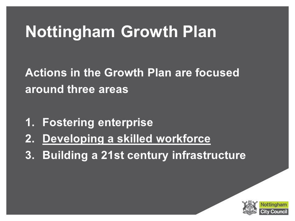 Nottingham Growth Plan Actions in the Growth Plan are focused around three areas 1.Fostering enterprise 2.Developing a skilled workforce 3.Building a 21st century infrastructure