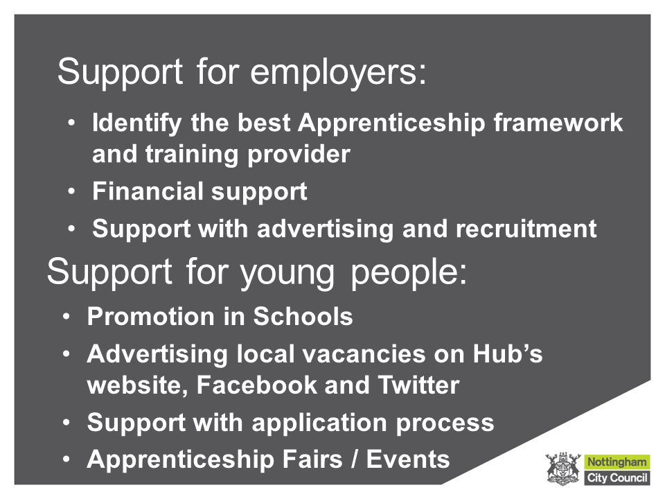 Support for employers: Identify the best Apprenticeship framework and training provider Financial support Support with advertising and recruitment Support for young people: Promotion in Schools Advertising local vacancies on Hub's website, Facebook and Twitter Support with application process Apprenticeship Fairs / Events