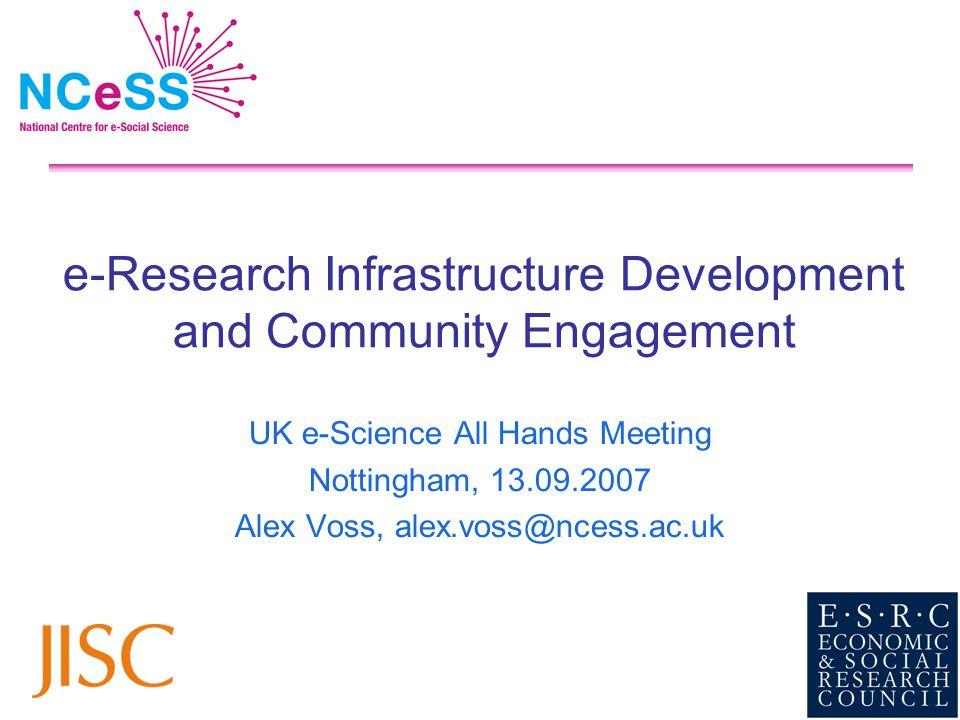 e-Research Infrastructure Development and Community Engagement UK e-Science All Hands Meeting Nottingham, 13.09.2007 Alex Voss, alex.voss@ncess.ac.uk