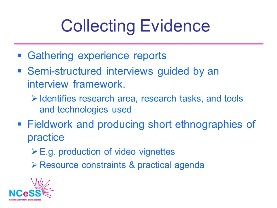 Collecting Evidence  Gathering experience reports  Semi-structured interviews guided by an interview framework.  Identifies research area, research