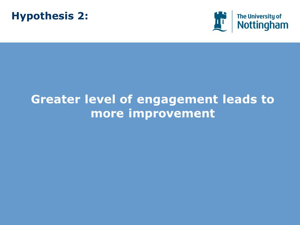 Hypothesis 2: Greater level of engagement leads to more improvement