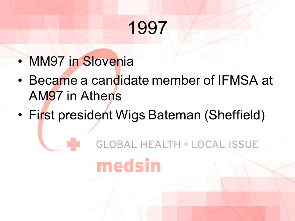 1997 MM97 in Slovenia Became a candidate member of IFMSA at AM97 in Athens First president Wigs Bateman (Sheffield)