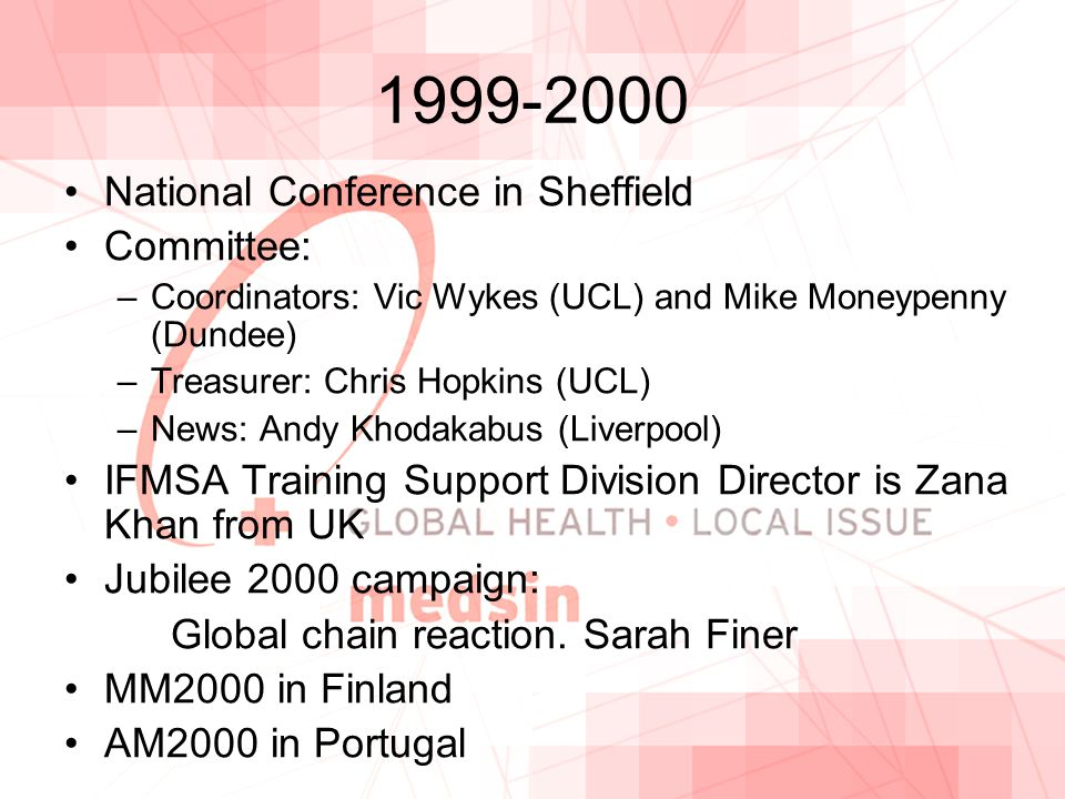 1999-2000 National Conference in Sheffield Committee: –Coordinators: Vic Wykes (UCL) and Mike Moneypenny (Dundee) –Treasurer: Chris Hopkins (UCL) –News: Andy Khodakabus (Liverpool) IFMSA Training Support Division Director is Zana Khan from UK Jubilee 2000 campaign: Global chain reaction.