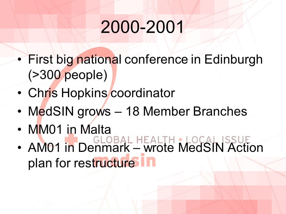 2000-2001 First big national conference in Edinburgh (>300 people) Chris Hopkins coordinator MedSIN grows – 18 Member Branches MM01 in Malta AM01 in Denmark – wrote MedSIN Action plan for restructure