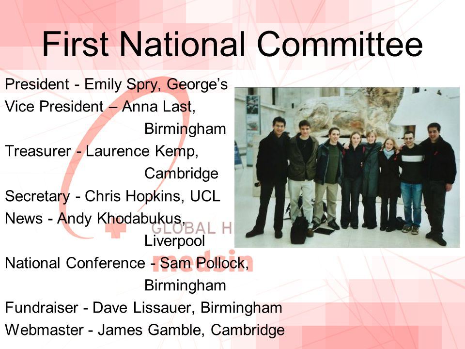 First National Committee President - Emily Spry, George's Vice President – Anna Last, Birmingham Treasurer - Laurence Kemp, Cambridge Secretary - Chris Hopkins, UCL News - Andy Khodabukus, Liverpool National Conference - Sam Pollock, Birmingham Fundraiser - Dave Lissauer, Birmingham Webmaster - James Gamble, Cambridge