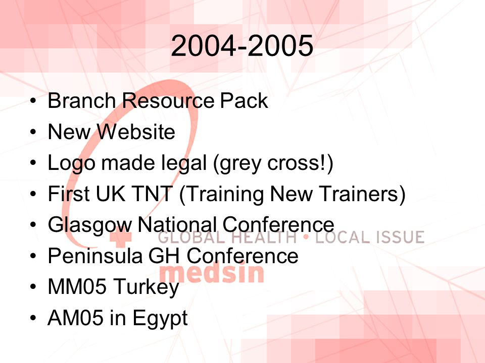 2004-2005 Branch Resource Pack New Website Logo made legal (grey cross!) First UK TNT (Training New Trainers) Glasgow National Conference Peninsula GH Conference MM05 Turkey AM05 in Egypt