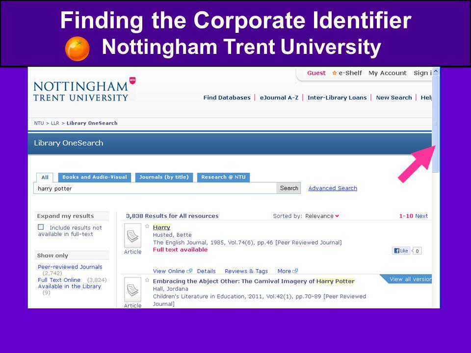 Finding the Corporate Identifier Nottingham Trent University