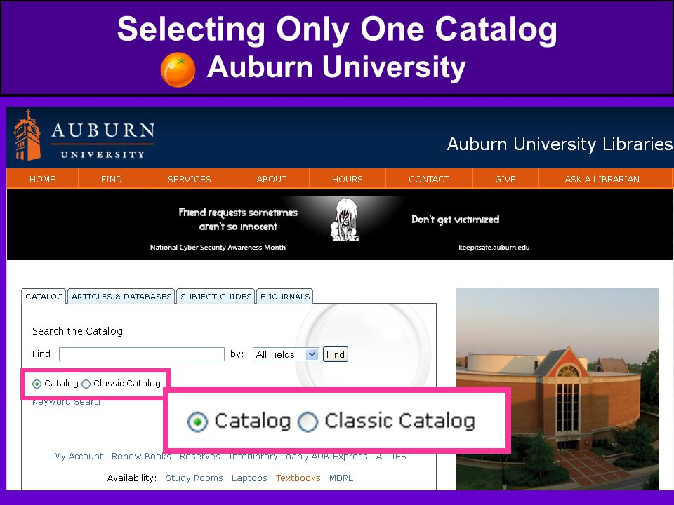 Selecting Only One Catalog Auburn University