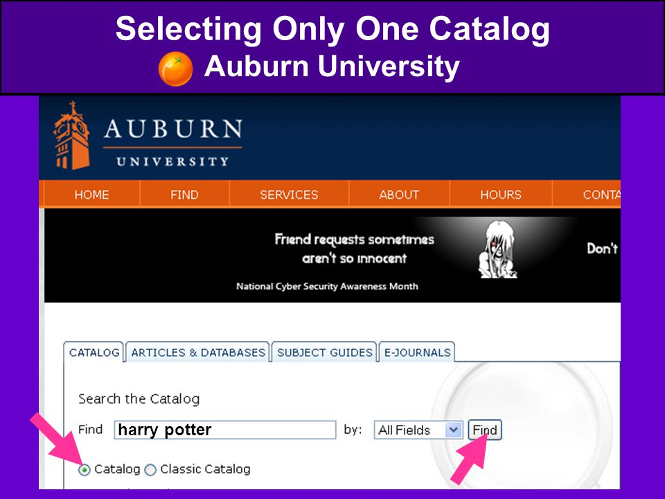 Selecting Only One Catalog Auburn University harry potter