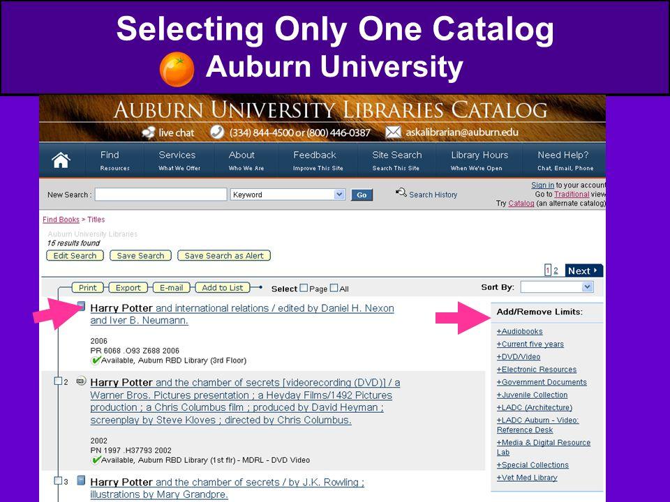 Selecting Only One Catalog Auburn University