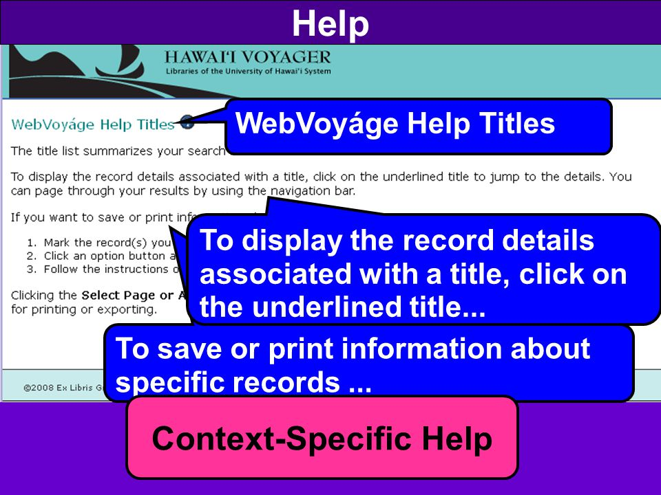 Help To save or print information about specific records...