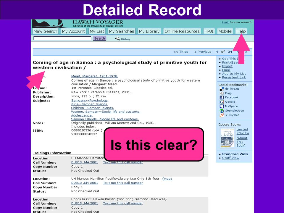 Detailed Record Is this clear?