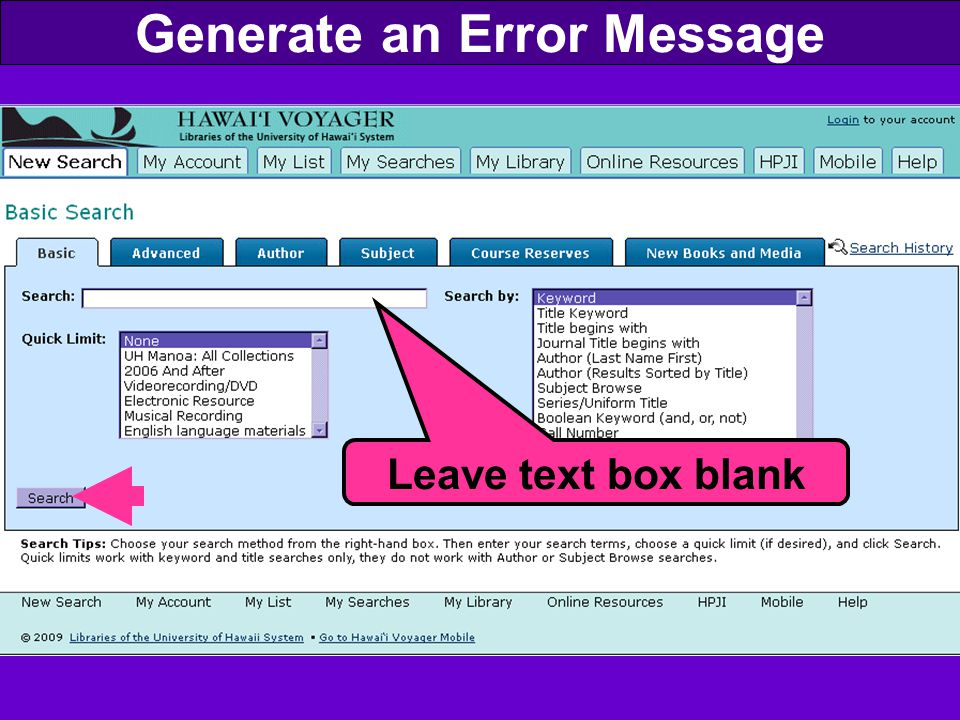 Generate an Error Message Leave text box blank