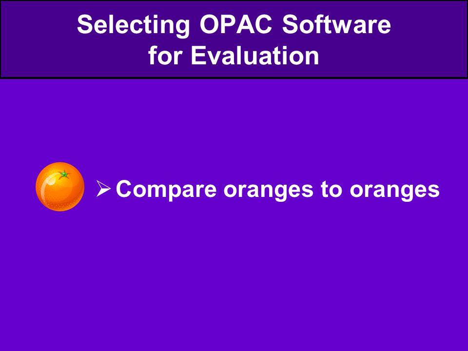  Compare oranges to oranges