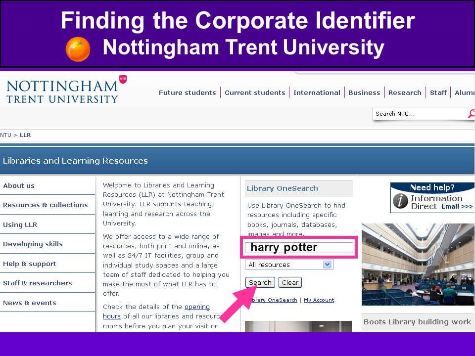 Finding the Corporate Identifier Nottingham Trent University harry potter
