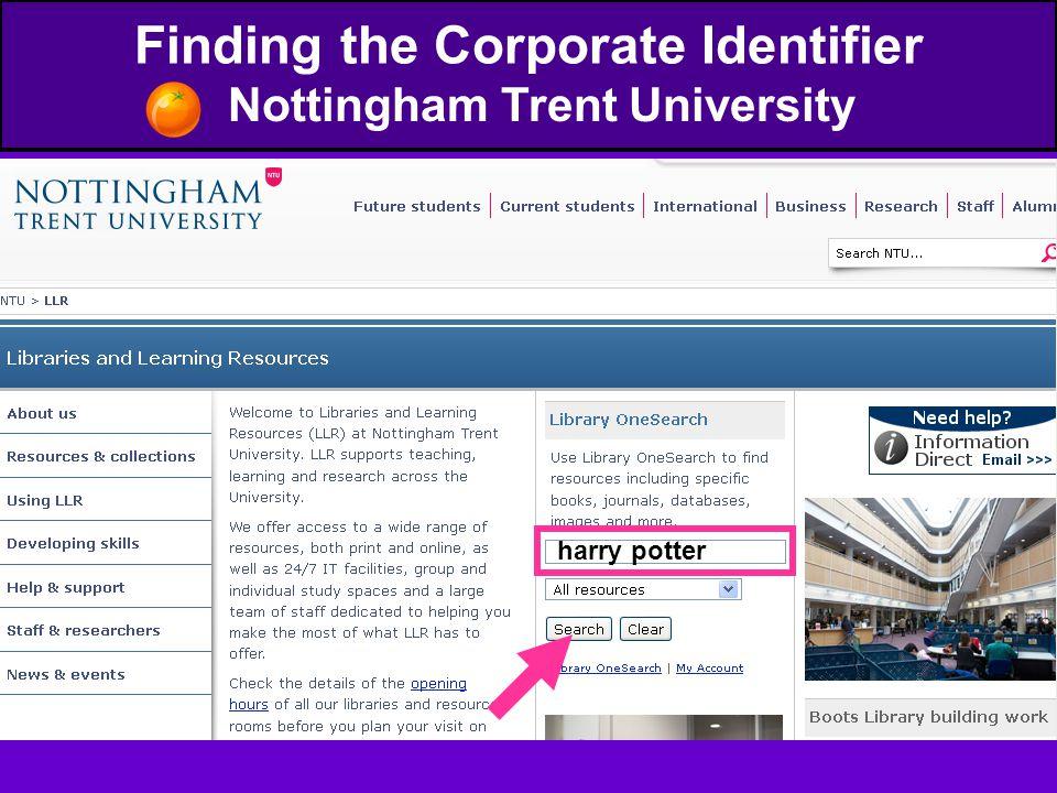 Finding the Corporate Identifier Nottingham Trent University harry potter