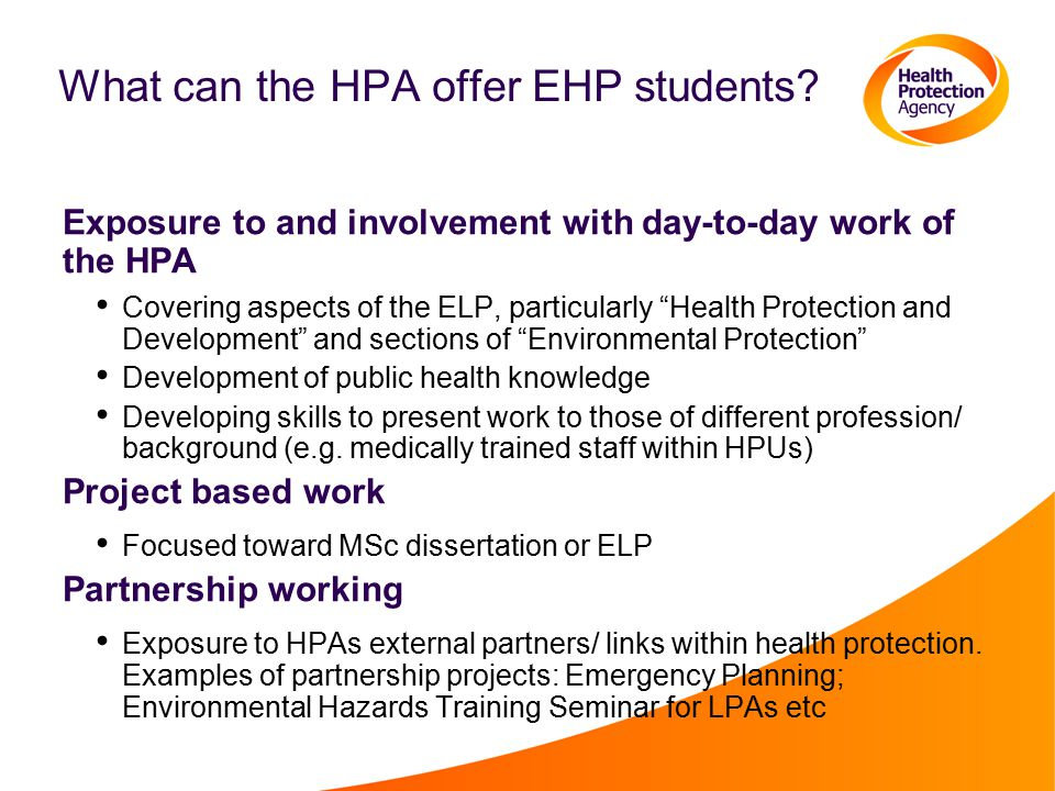 What can the HPA offer EHP students.