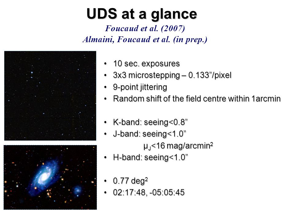 """UDS at a glance 10 sec. exposures10 sec. exposures 3x3 microstepping – 0.133""""/pixel3x3 microstepping – 0.133""""/pixel 9-point jittering9-point jittering"""