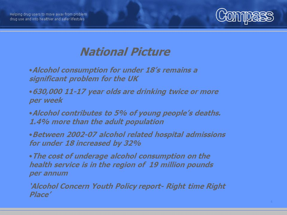 5 Helping drug users to move away from problem drug use and into healthier and safer lifestyles Local Picture - Nottingham Lack of available data Nationally means that both the scale of alcohol related admissions is going unrecorded and opportunities to intervene are being missed In Nottingham a data analysis of adolescent hospital admissions during the month of August showed the following: