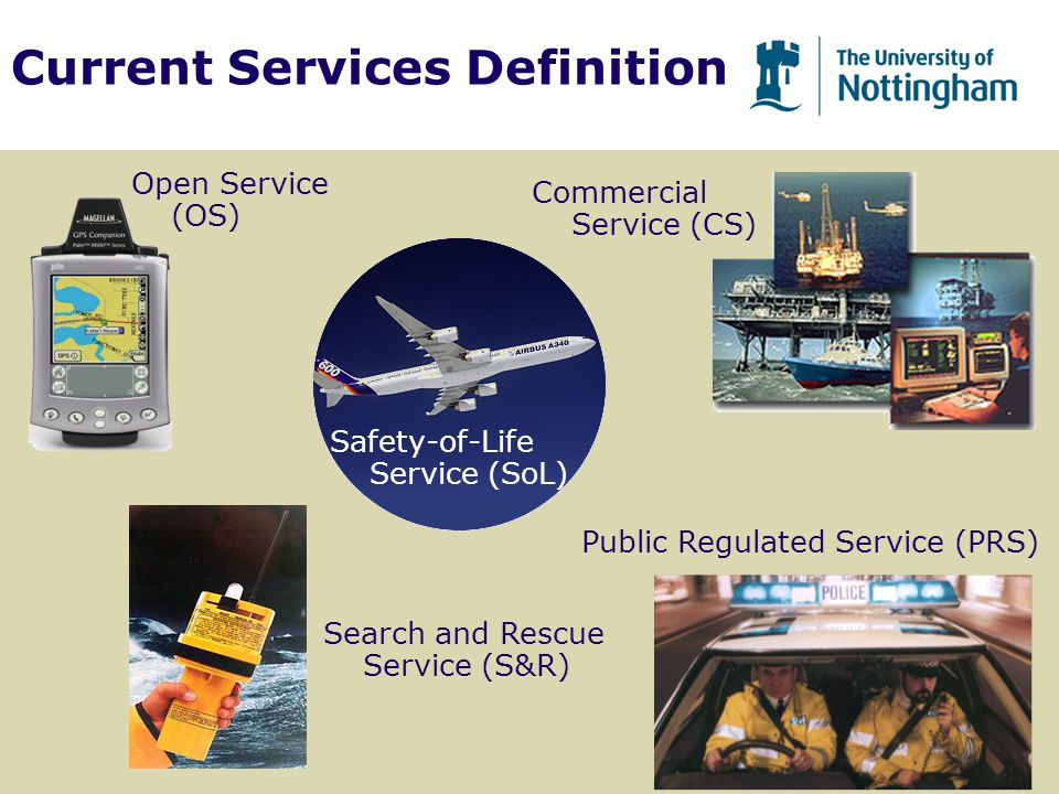 Current Services Definition Open Service (OS) Search and Rescue Service (S&R) Public Regulated Service (PRS) Commercial Service (CS) Safety-of-Life Se