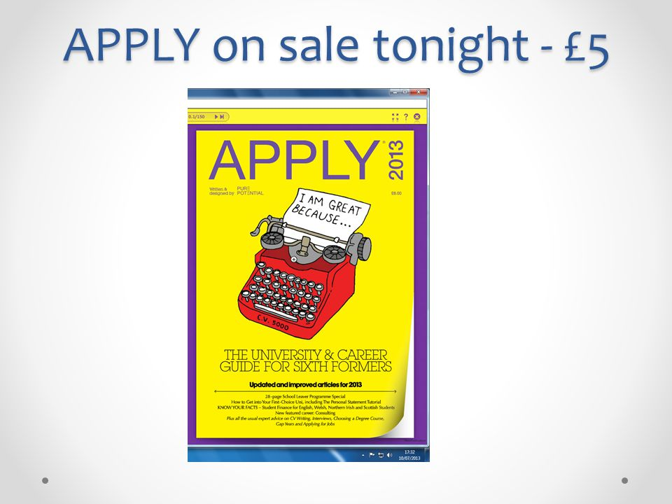 APPLY on sale tonight - £5