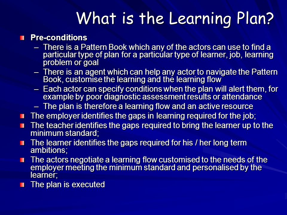 What is the Learning Plan.