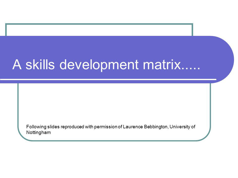 A skills development matrix.....