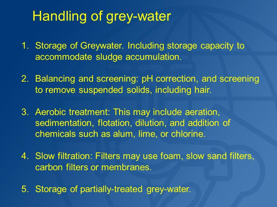 1.Storage of Greywater. Including storage capacity to accommodate sludge accumulation.