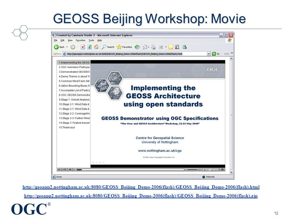 OGC ® 12 GEOSS Beijing Workshop: Movie http://geoapp2.nottingham.ac.uk:8080/GEOSS_Beijing_Demo-2006(flash)/GEOSS_Beijing_Demo-2006(flash).html http://