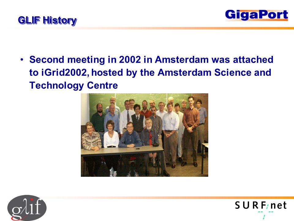 GLIF History Second meeting in 2002 in Amsterdam was attached to iGrid2002, hosted by the Amsterdam Science and Technology Centre