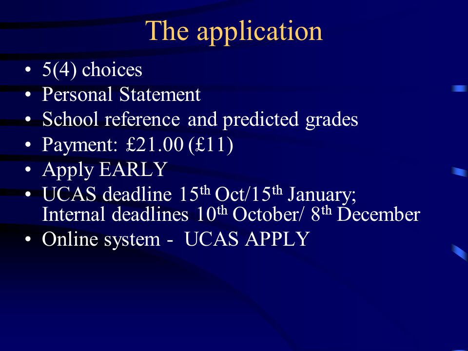The application 5(4) choices Personal Statement School reference and predicted grades Payment: £21.00 (£11) Apply EARLY UCAS deadline 15 th Oct/15 th