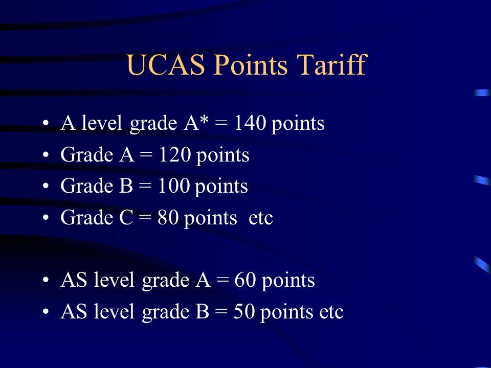 UCAS Points Tariff A level grade A* = 140 points Grade A = 120 points Grade B = 100 points Grade C = 80 points etc AS level grade A = 60 points AS level grade B = 50 points etc