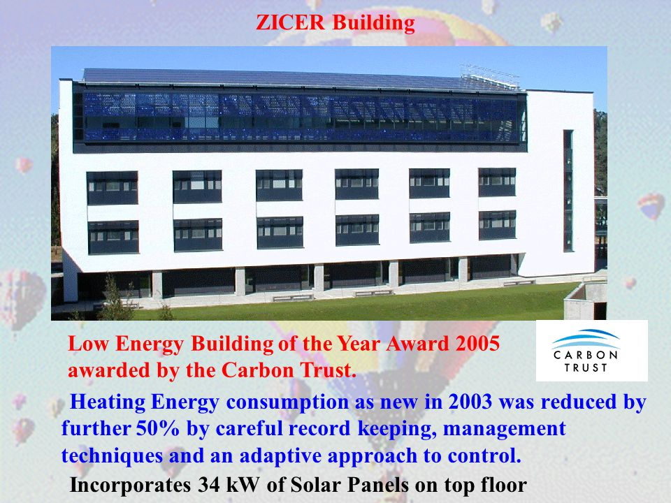 ZICER Building Heating Energy consumption as new in 2003 was reduced by further 50% by careful record keeping, management techniques and an adaptive a
