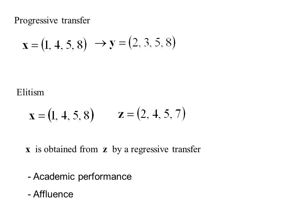 Elitism x is obtained from z by a regressive transfer Progressive transfer - Academic performance - Affluence