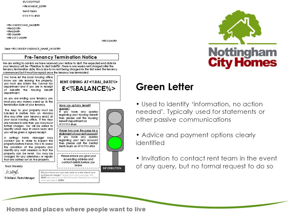 Homes and places where people want to live Green Letter Used to identify 'information, no action needed'. Typically used for statements or other passi