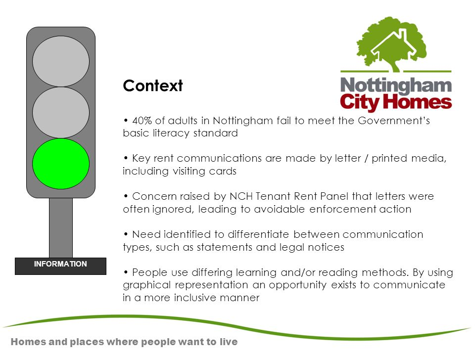 Homes and places where people want to live Context 40% of adults in Nottingham fail to meet the Government's basic literacy standard Key rent communic