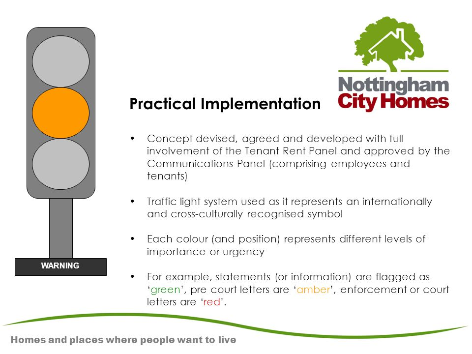 Homes and places where people want to live Practical Implementation Concept devised, agreed and developed with full involvement of the Tenant Rent Pan