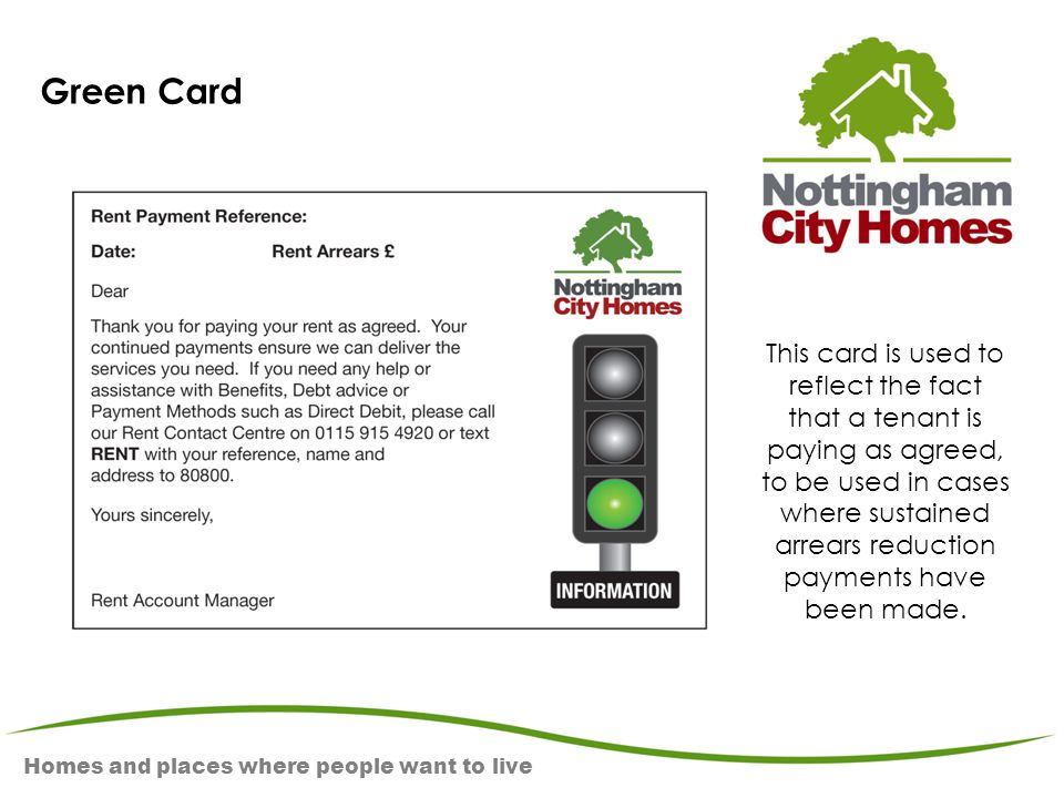 Homes and places where people want to live Green Card This card is used to reflect the fact that a tenant is paying as agreed, to be used in cases whe