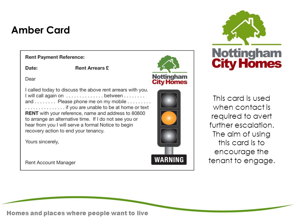 Homes and places where people want to live Amber Card This card is used when contact is required to avert further escalation. The aim of using this ca
