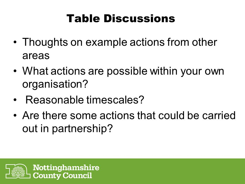 Next steps Formulate an action plan and share- deadline.