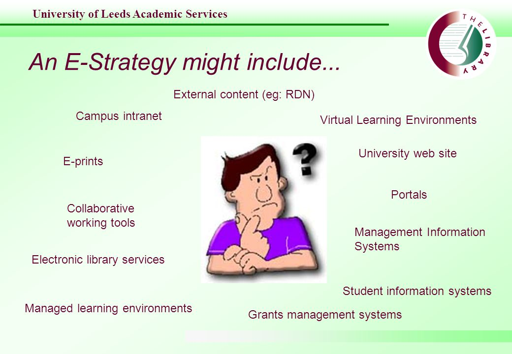 University of Leeds Academic Services An E-Strategy might include...