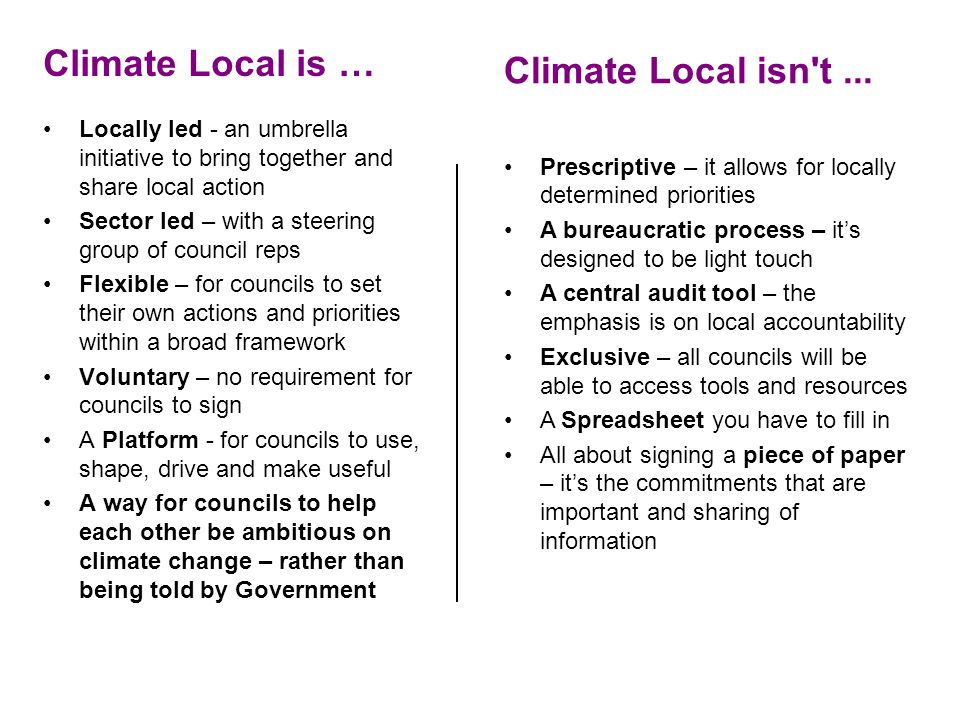 Climate Local is … Locally led - an umbrella initiative to bring together and share local action Sector led – with a steering group of council reps Fl