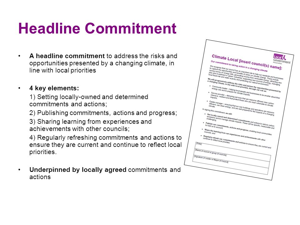 Headline Commitment A headline commitment to address the risks and opportunities presented by a changing climate, in line with local priorities 4 key
