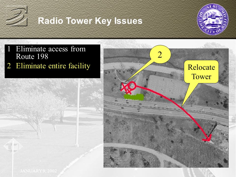 JANUARY 9, 2002 Radio Tower Key Issues 1Eliminate access from Route 198 2Eliminate entire facility 2 Relocate Tower