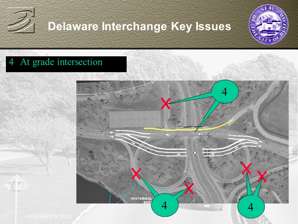 JANUARY 9, 2002 Delaware Interchange Key Issues 4At grade intersection 14 1 4 1 4
